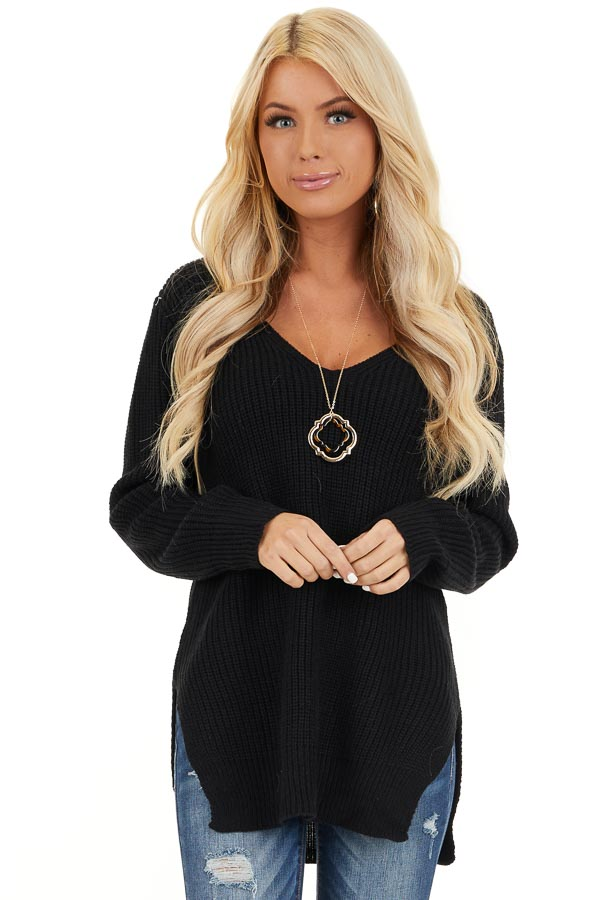 Black Knit Lightweight Sweater with Criss Cross Back front close up