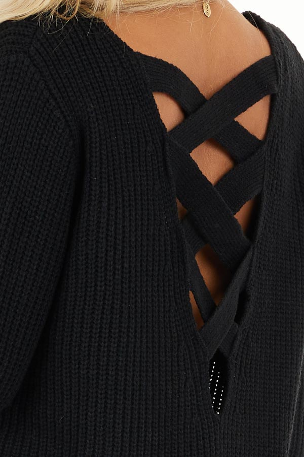 Black Knit Lightweight Sweater with Criss Cross Back detail