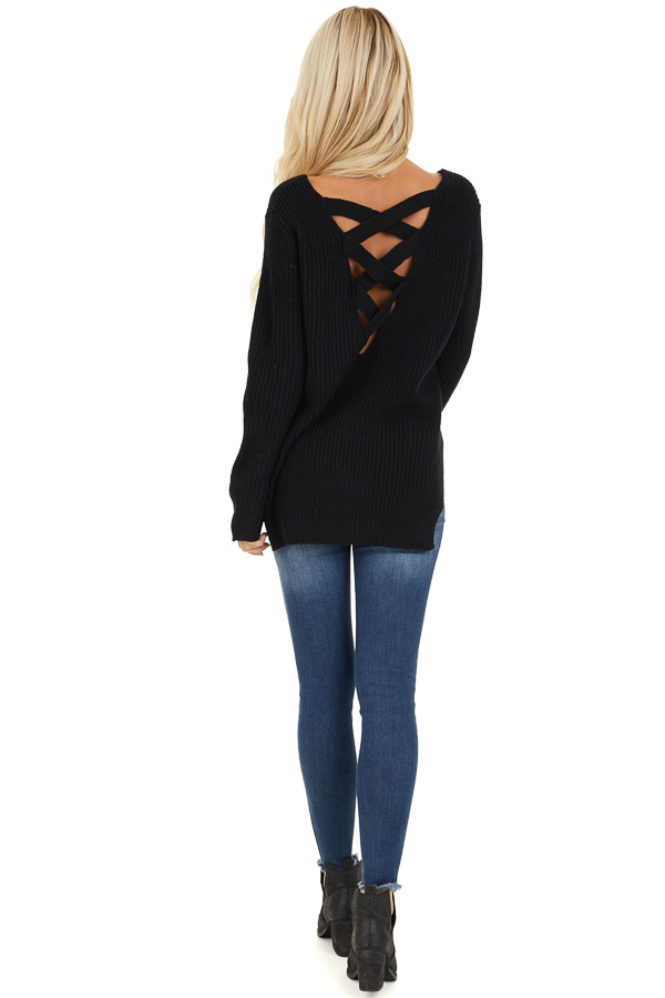 Black Knit Lightweight Sweater with Criss Cross Back back full body