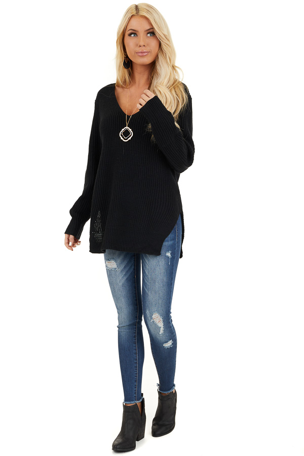 Black Knit Lightweight Sweater with Criss Cross Back front full body