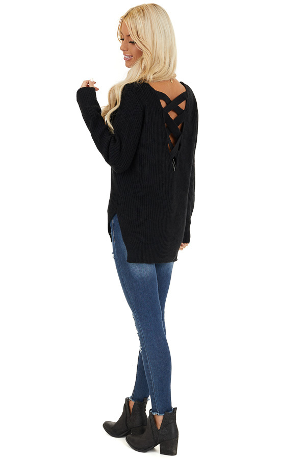 Black Knit Lightweight Sweater with Criss Cross Back side full body