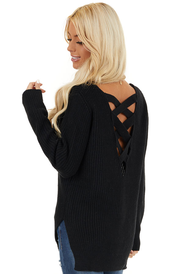Black Knit Lightweight Sweater with Criss Cross Back back side close up
