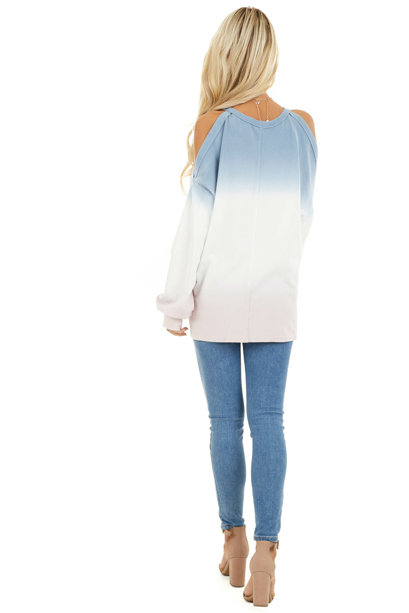 Baby Blue Cold Shoulder Tie Dye Knit Top with Long Sleeves back full body