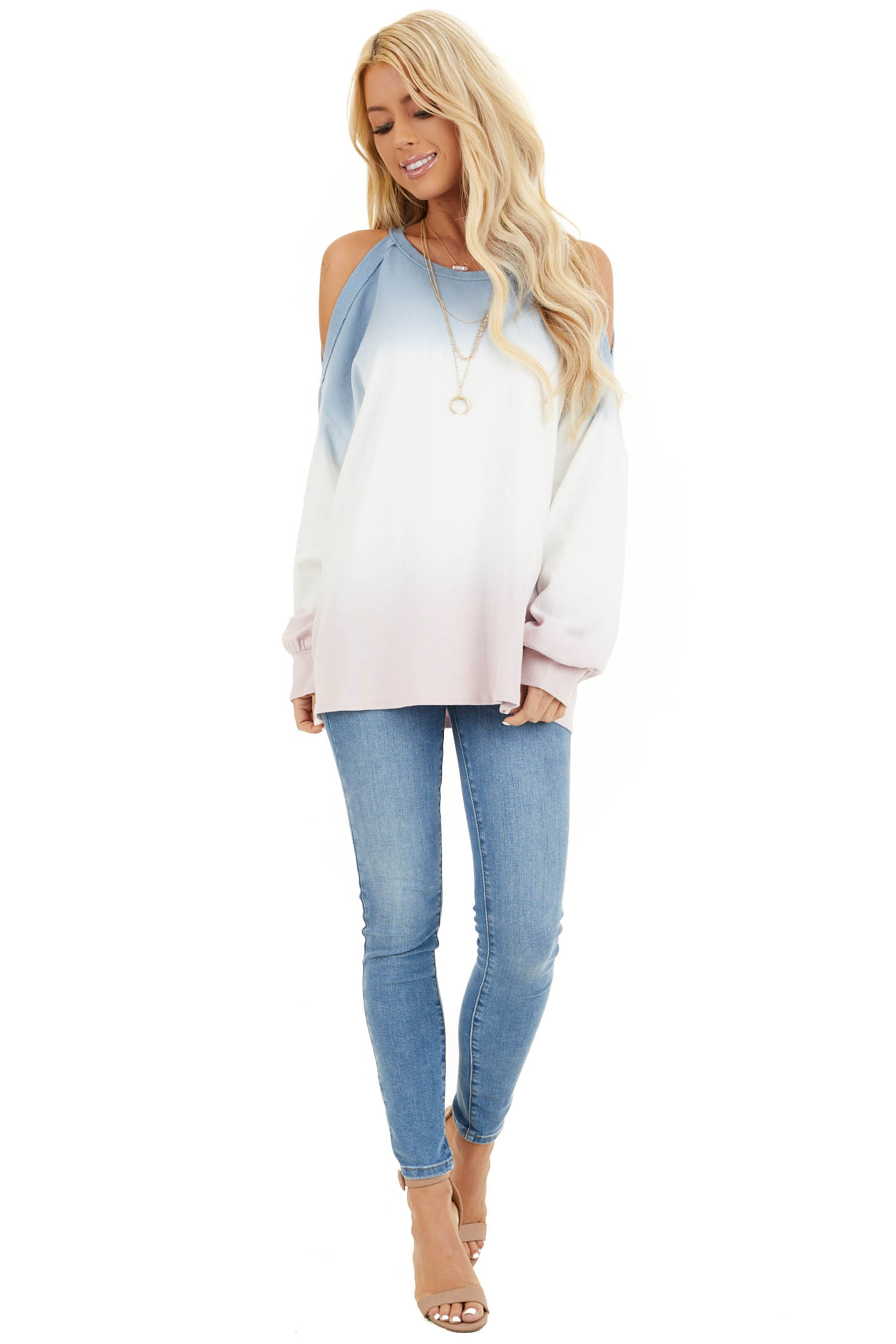 Baby Blue Cold Shoulder Tie Dye Knit Top with Long Sleeves front full body