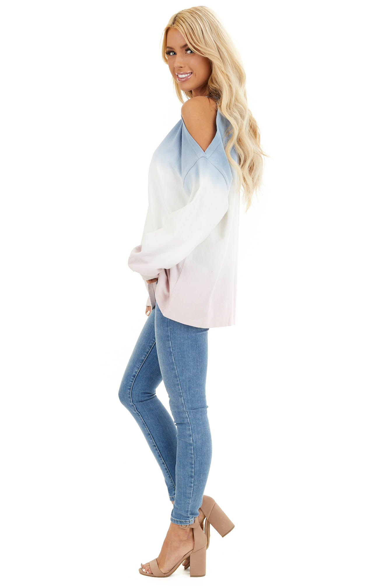 Baby Blue Cold Shoulder Tie Dye Knit Top with Long Sleeves side full body