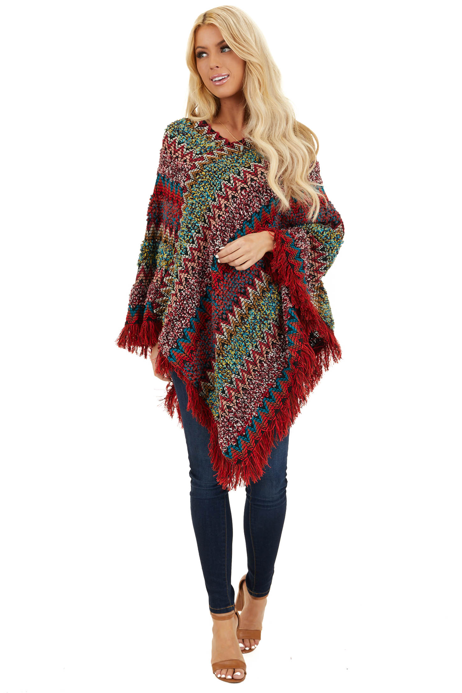 Maroon Multi Color Boho Poncho with Fringe Details front full body