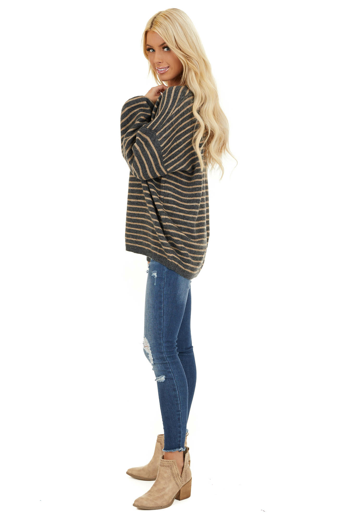 Black and Khaki Striped Sweater with Distressed Neckline side full body