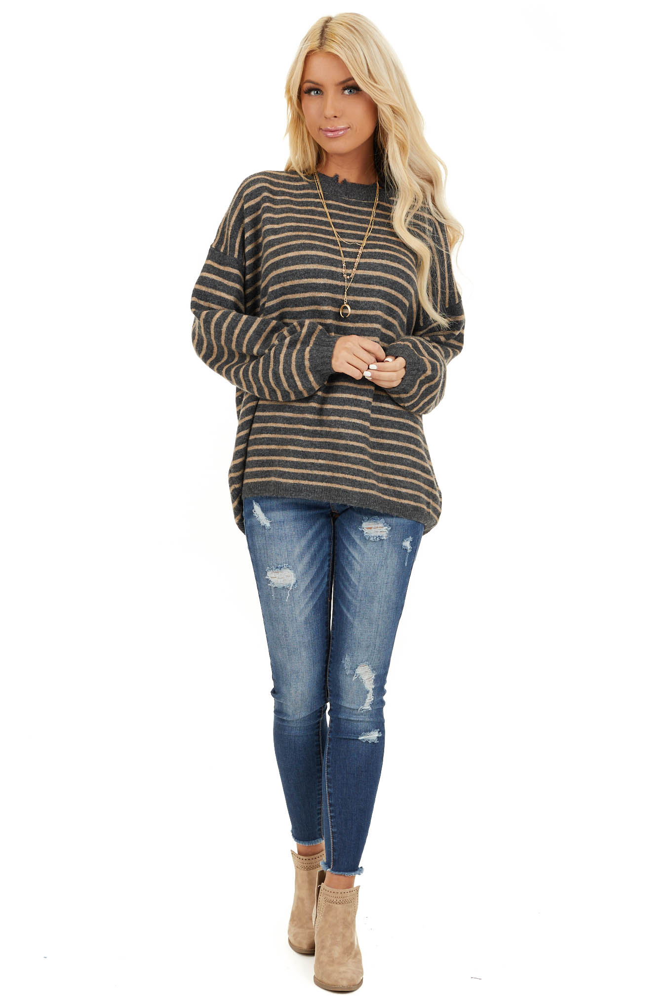 Black and Khaki Striped Sweater with Distressed Neckline front full body