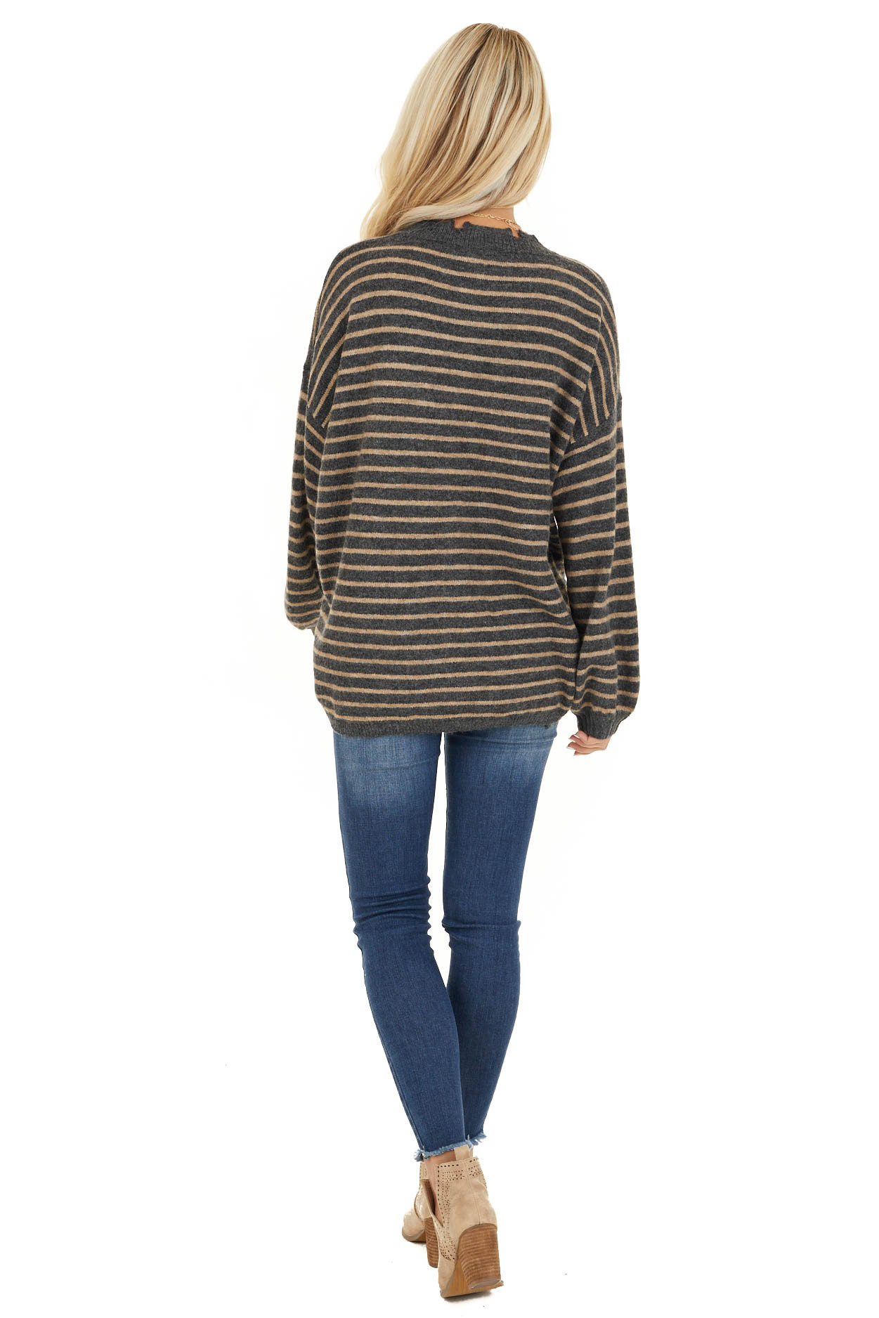 Black and Khaki Striped Sweater with Distressed Neckline back full body