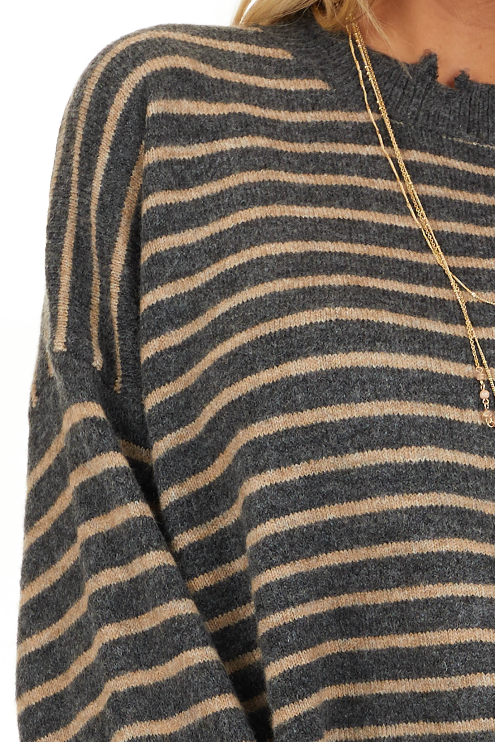Black and Khaki Striped Sweater with Distressed Neckline detail