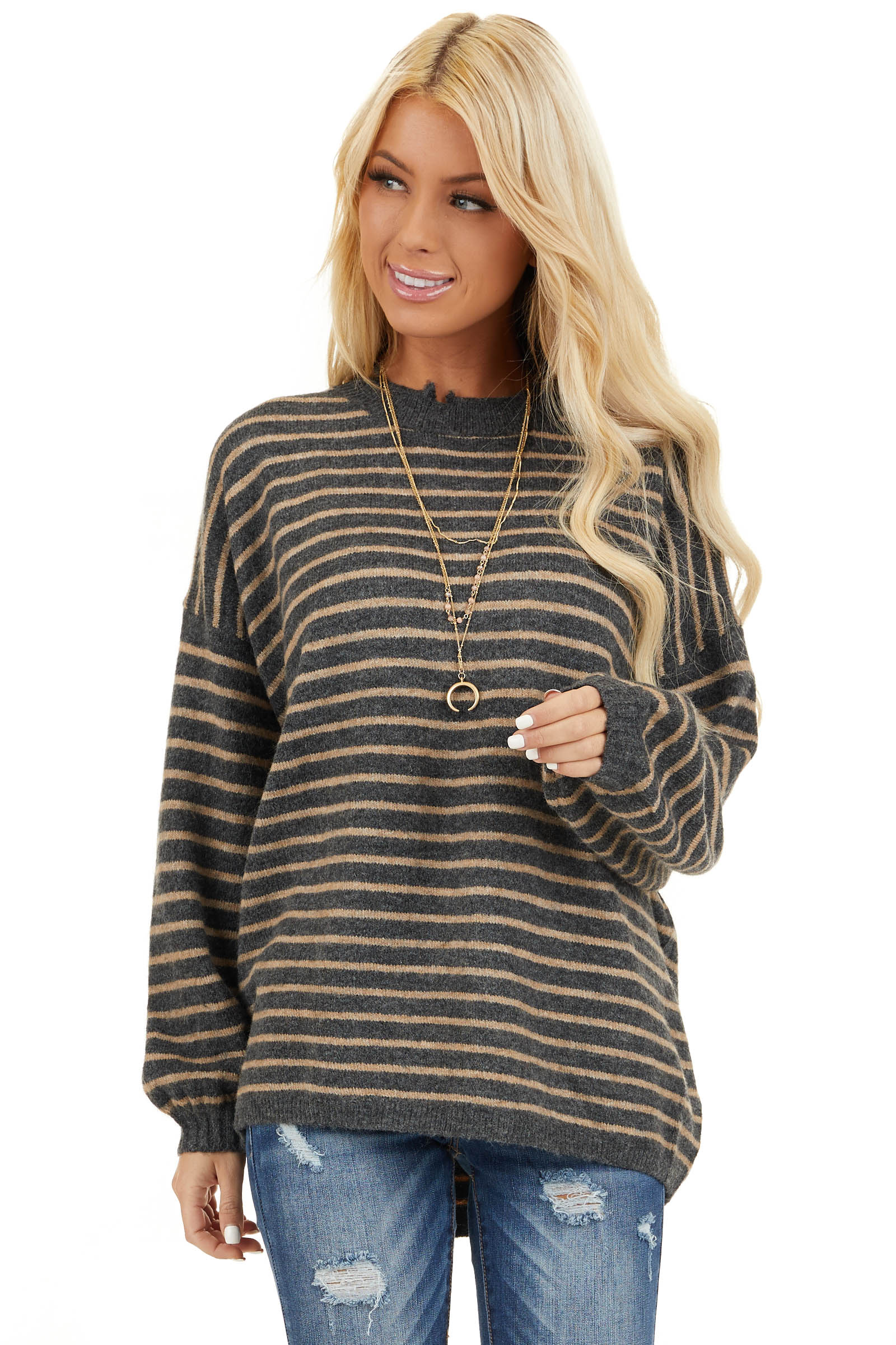 Black and Khaki Striped Sweater with Distressed Neckline front close up