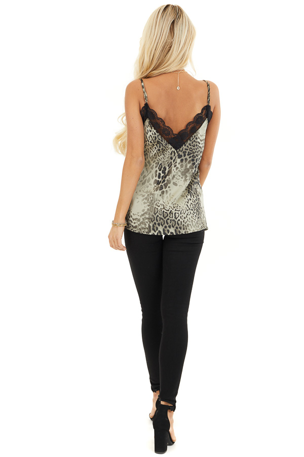 Faded Sage Leopard Print Tank Top with Black Lace Trim back full body