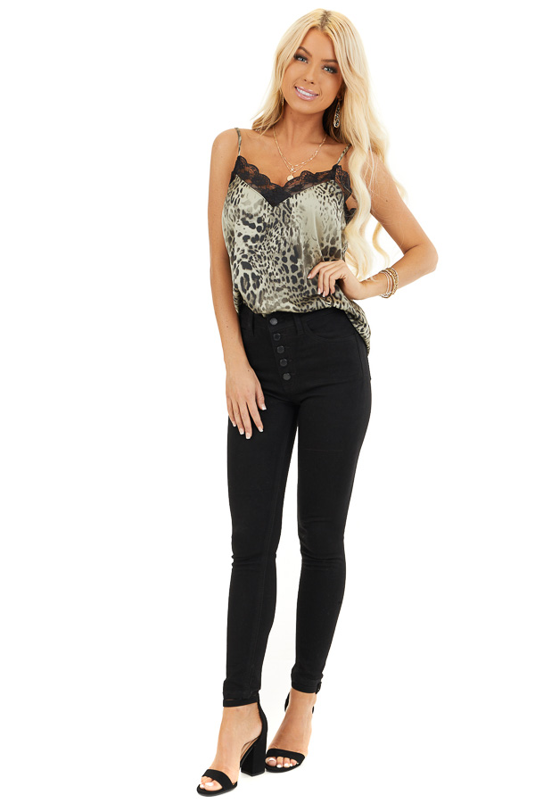 Faded Sage Leopard Print Tank Top with Black Lace Trim front full body
