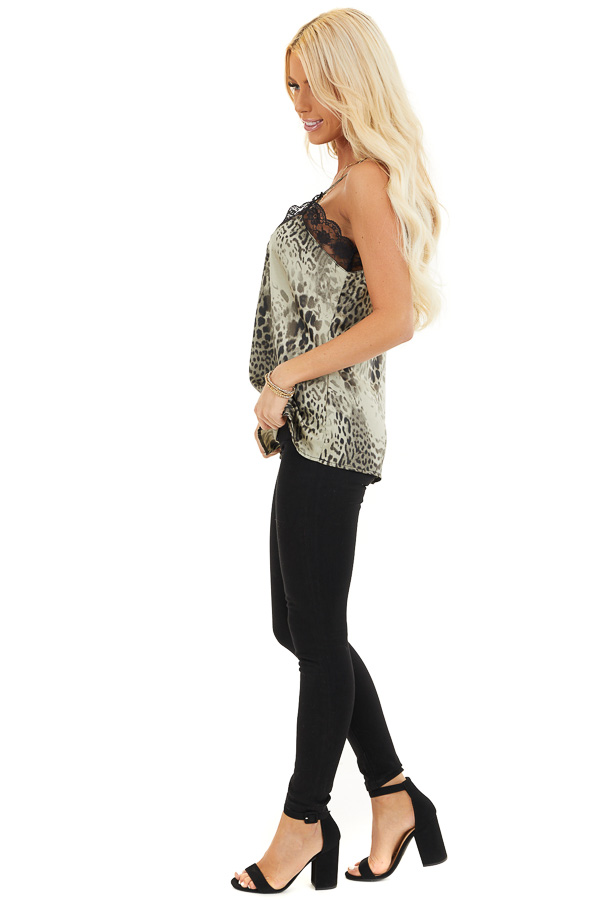 Faded Sage Leopard Print Tank Top with Black Lace Trim side full body
