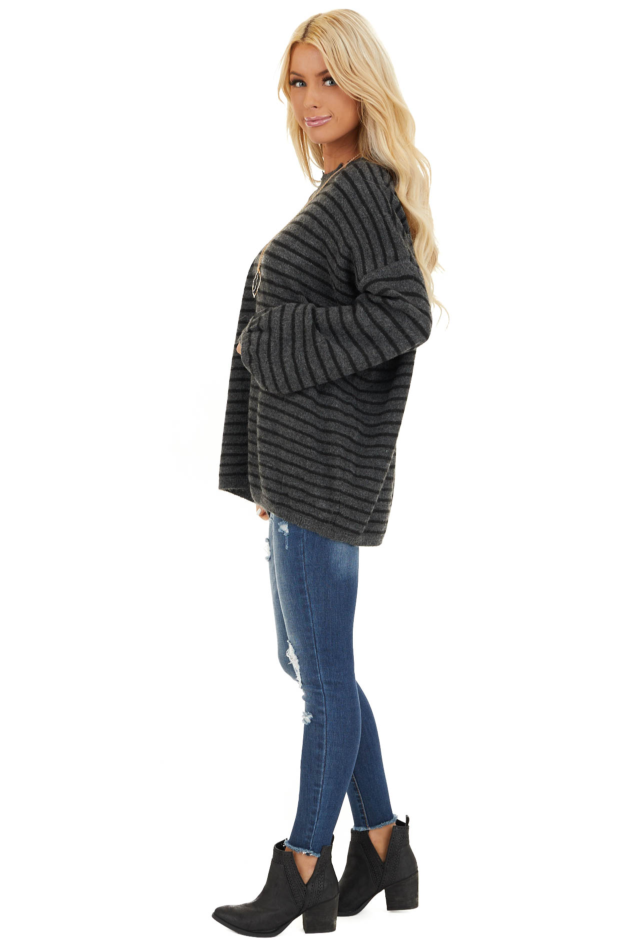 Black and Charcoal Striped Sweater with Distressed Neckline side full body