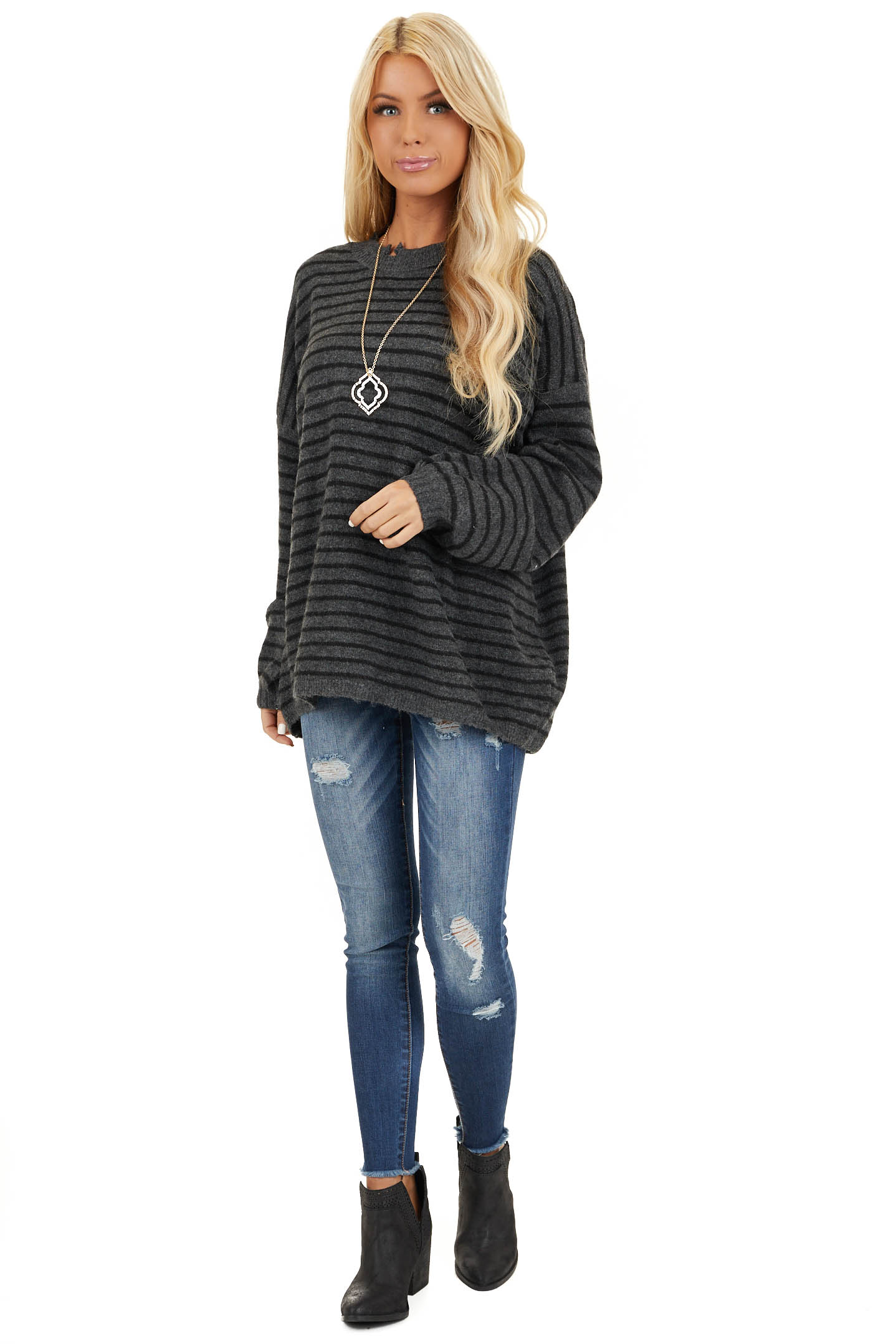 Black and Charcoal Striped Sweater with Distressed Neckline front full body