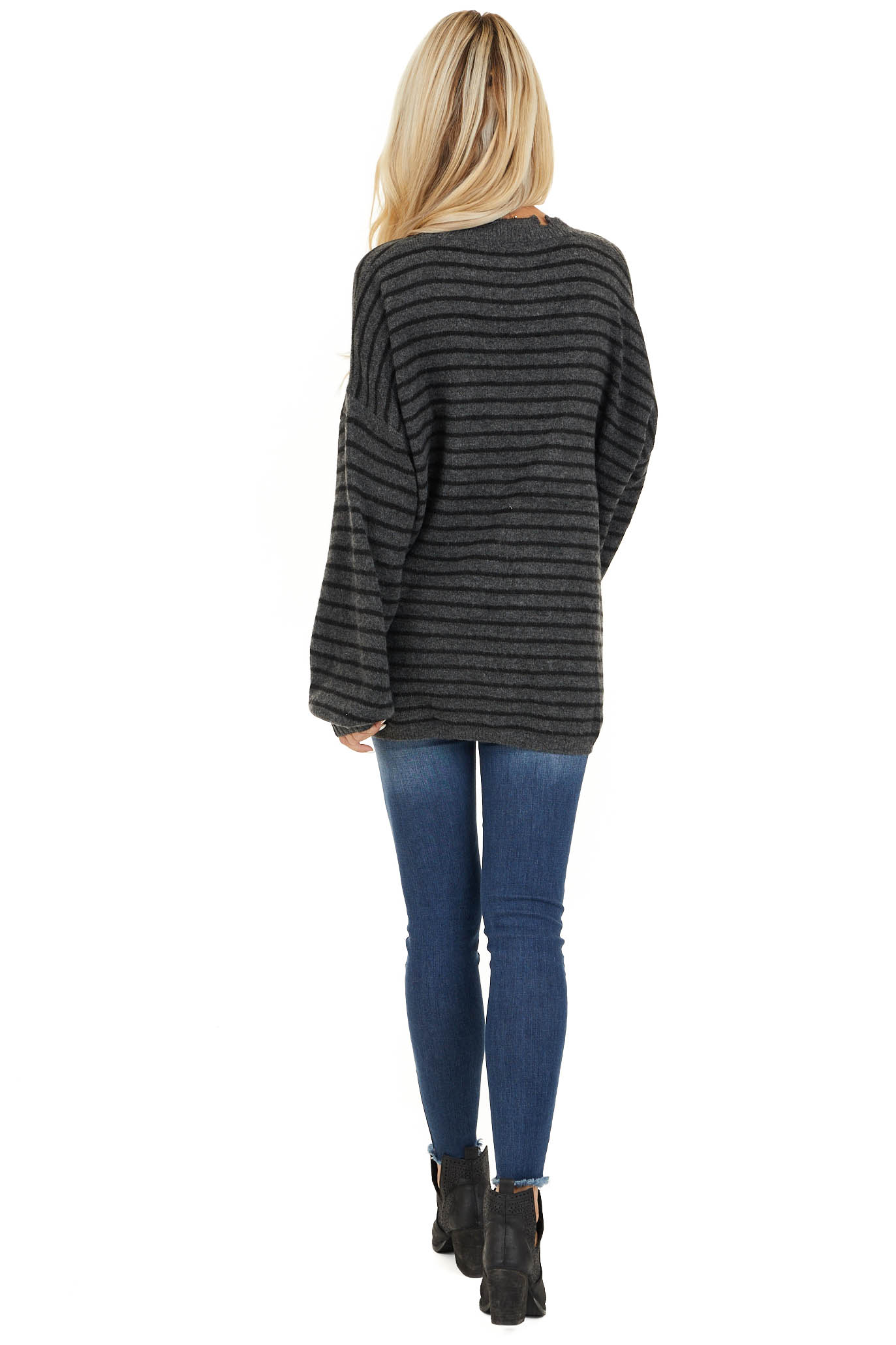 Black and Charcoal Striped Sweater with Distressed Neckline back full body