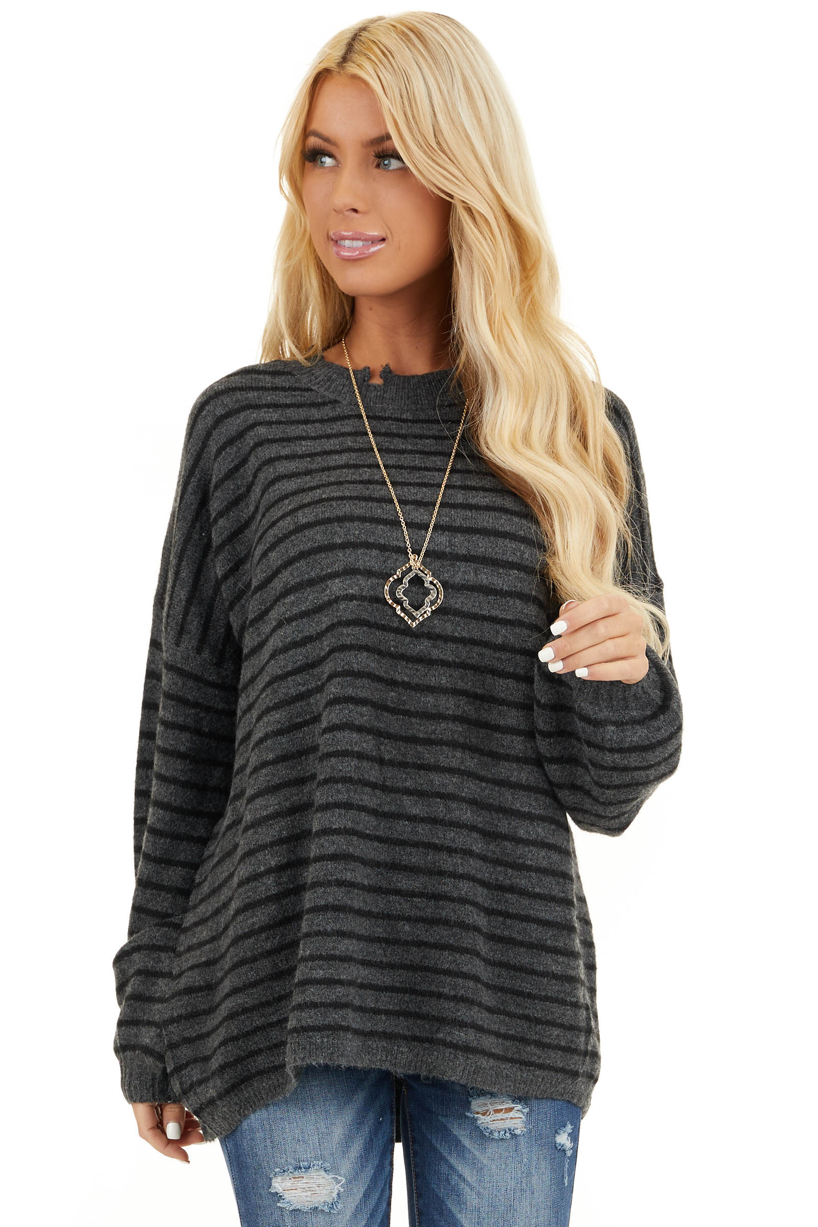 Black and Charcoal Striped Sweater with Distressed Neckline front close up