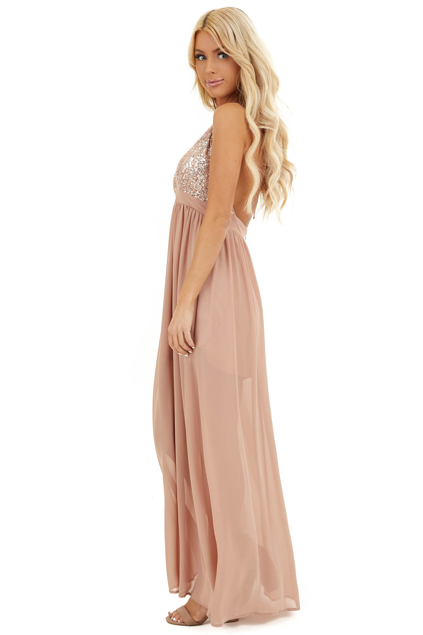 Blush Pink Sleeveless Halter Maxi Dress with Sequined Bodice side full body