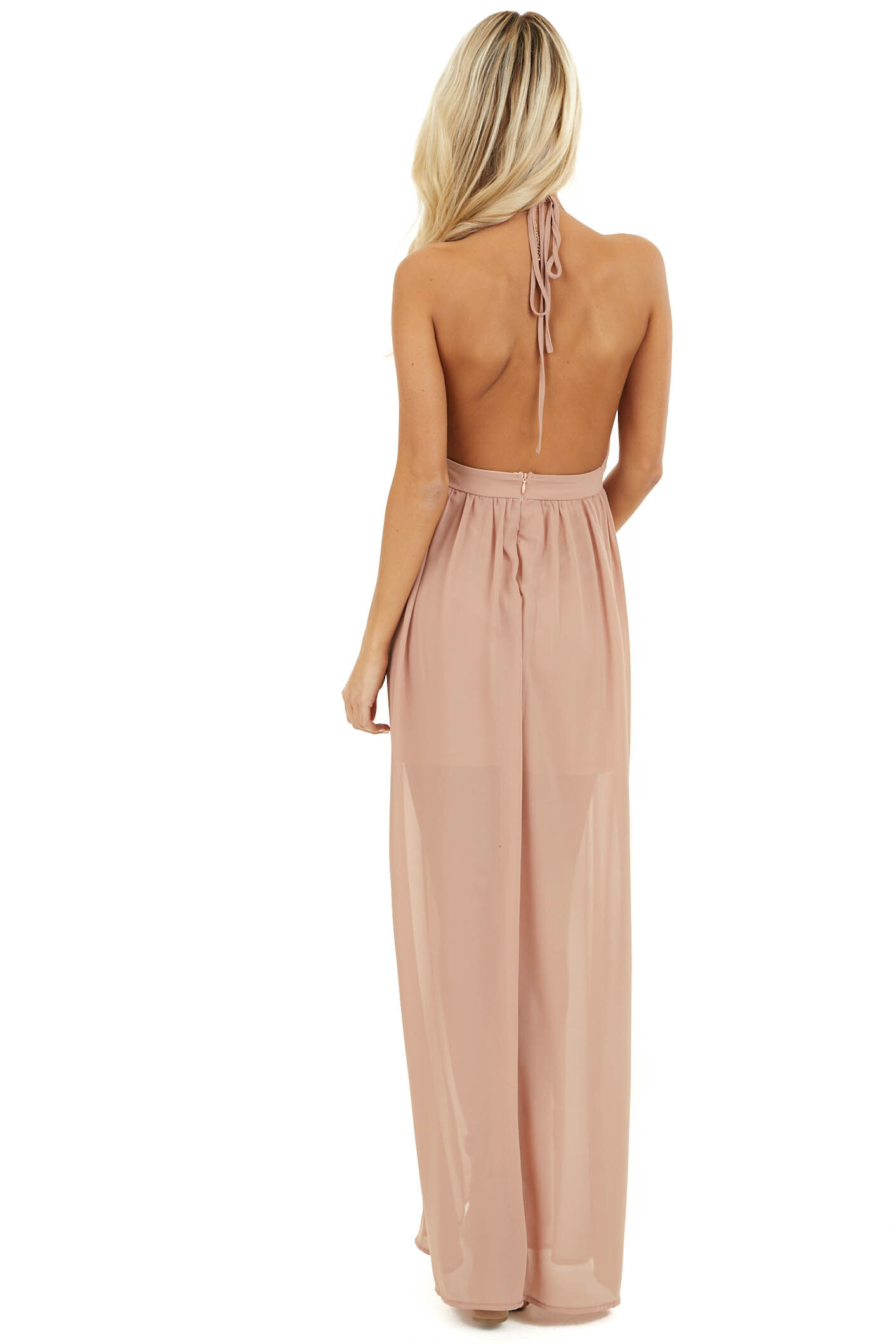 Blush Pink Sleeveless Halter Maxi Dress with Sequined Bodice back full body