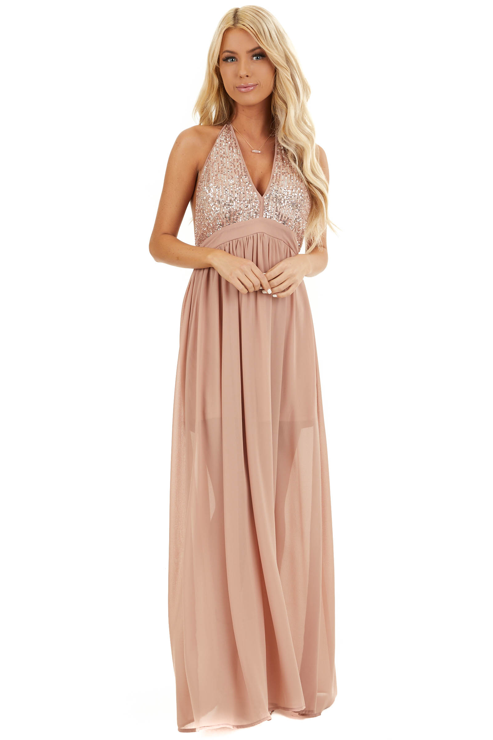 Blush Pink Sleeveless Halter Maxi Dress with Sequined Bodice front full body