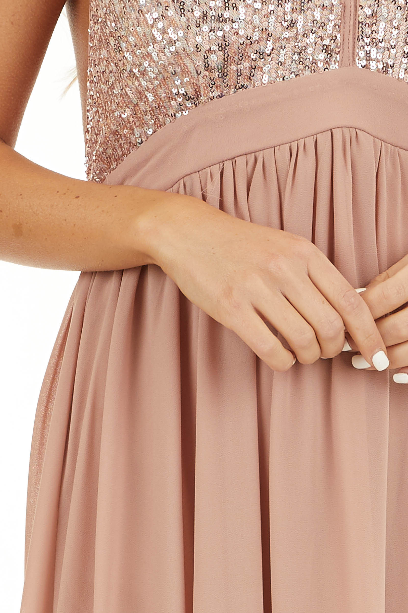 Blush Pink Sleeveless Halter Maxi Dress with Sequined Bodice detail