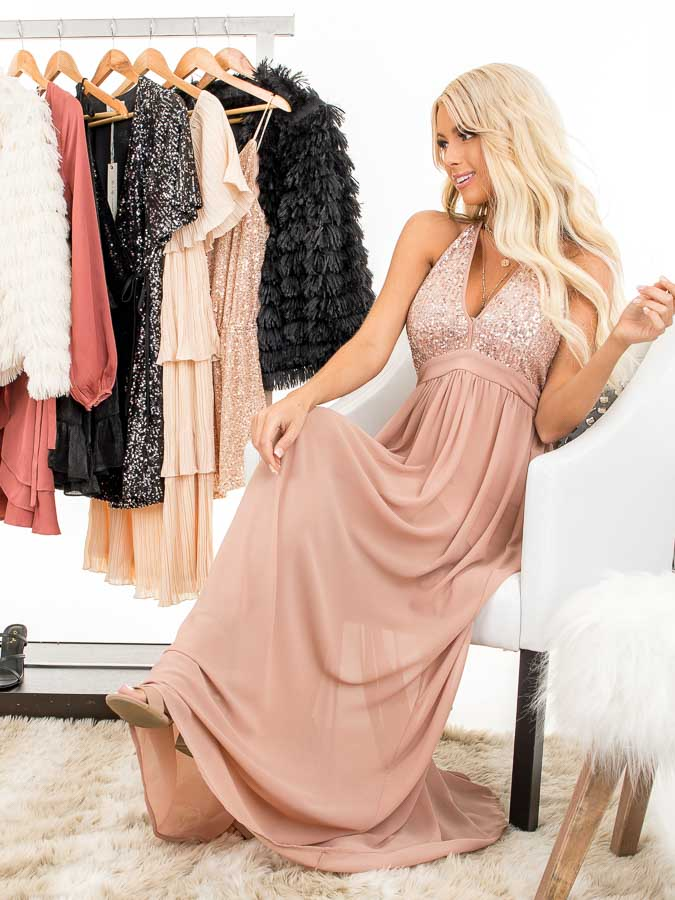 Blush Pink Sleeveless Halter Maxi Dress with Sequined Bodice