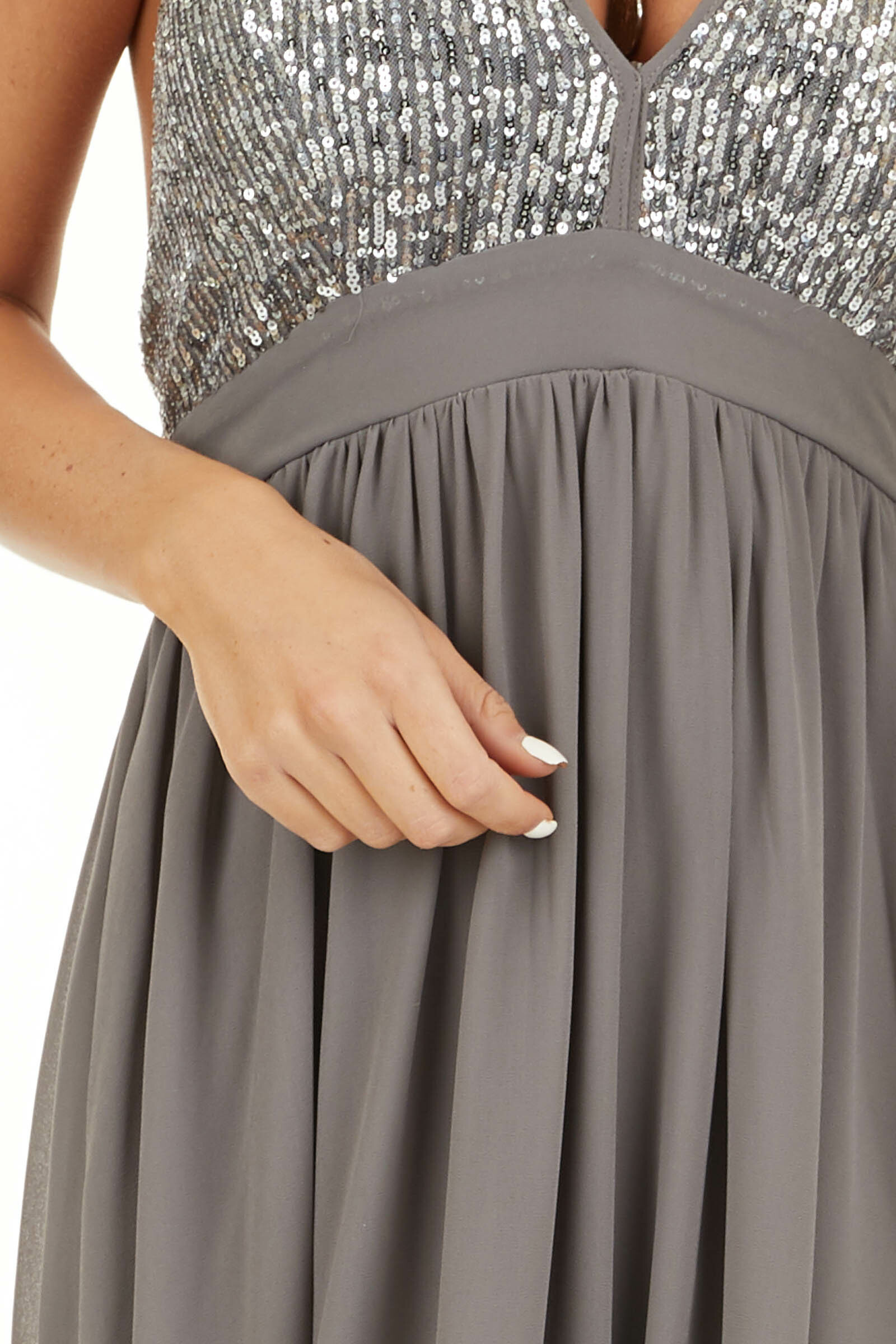 Stone Grey Sleeveless Halter Maxi Dress with Sequined Bodice detail