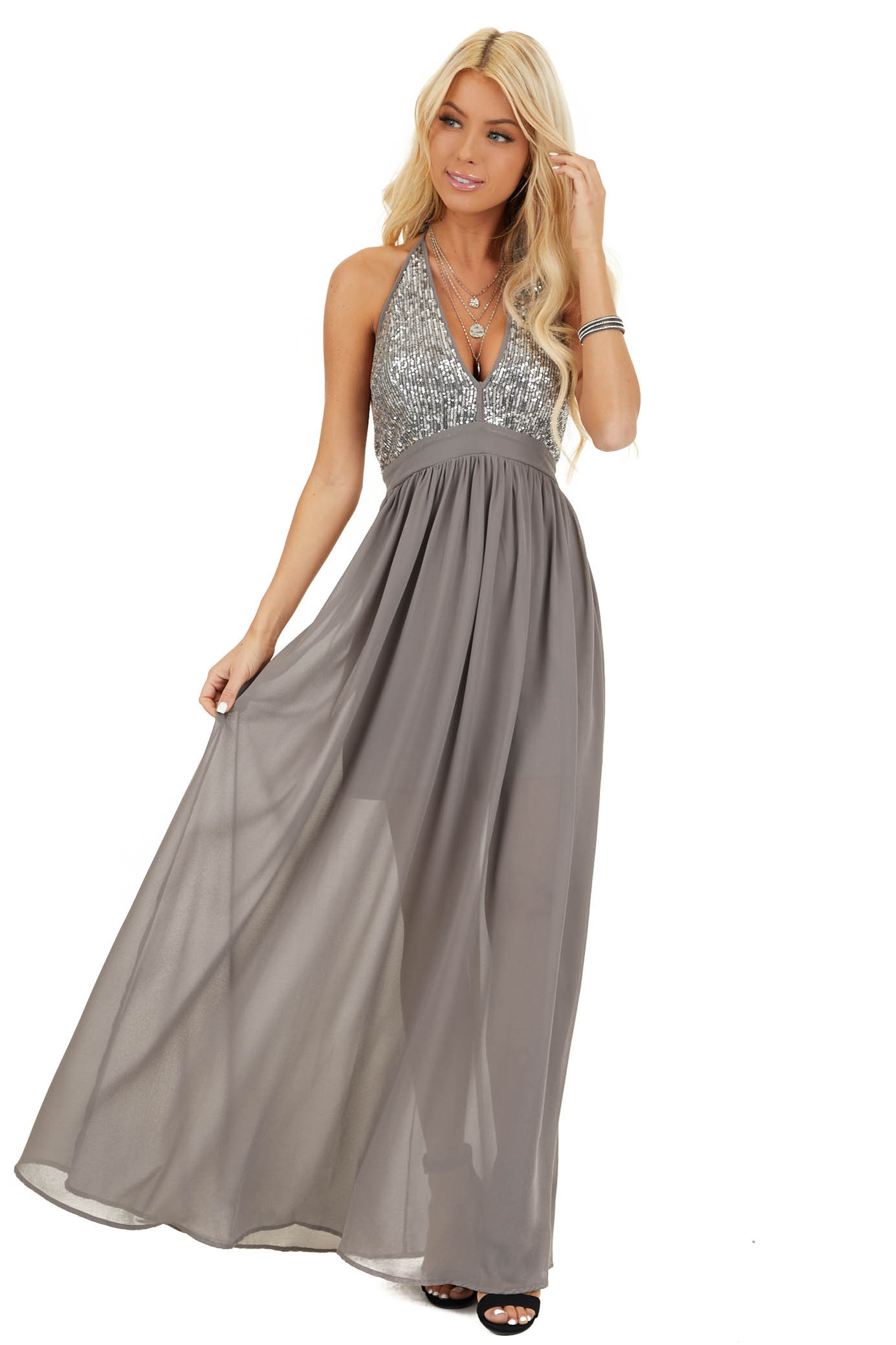 Stone Grey Sleeveless Halter Maxi Dress with Sequined Bodice front full body