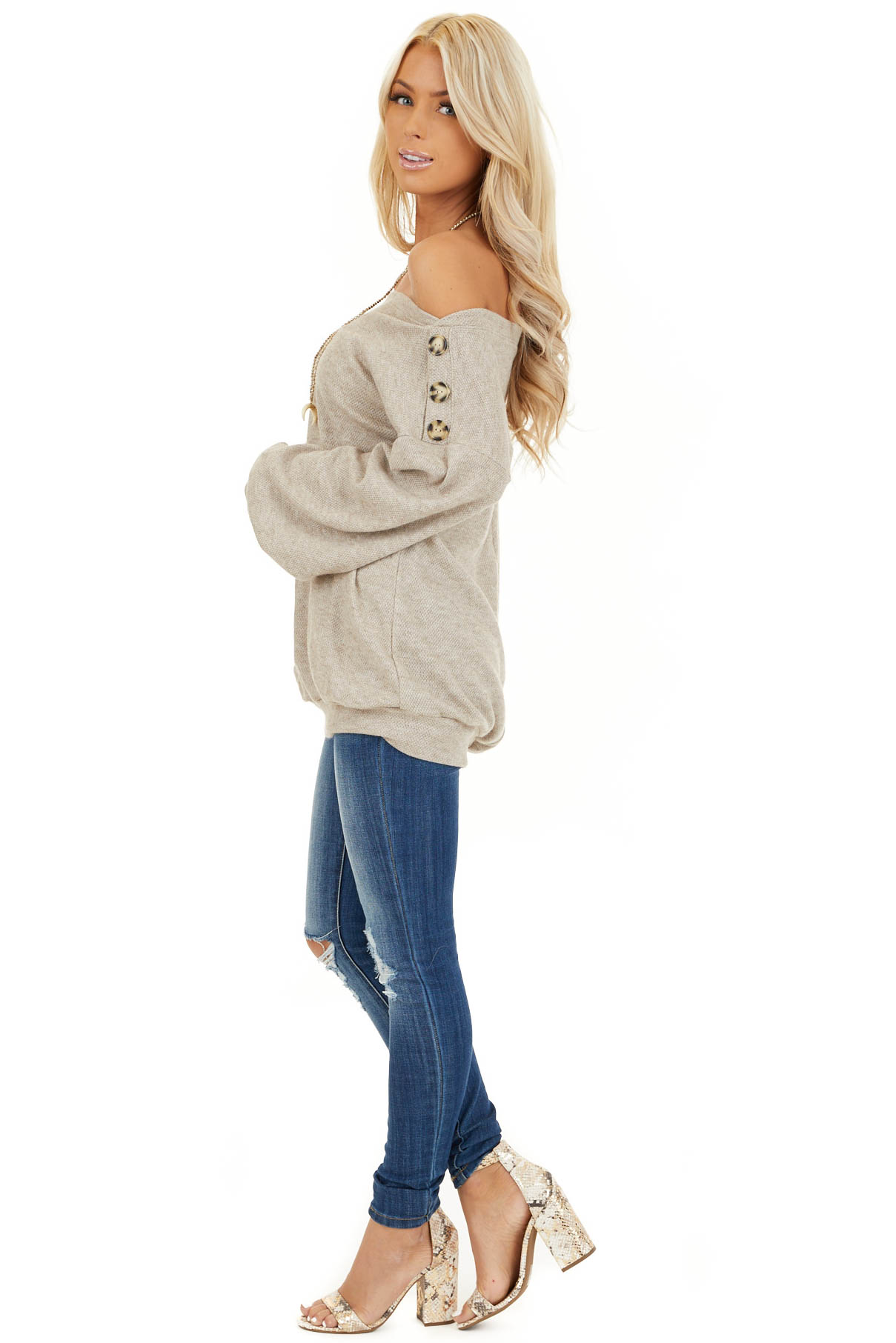 Taupe Off the Shoulder Long Sleeve Top with Button Details side full body