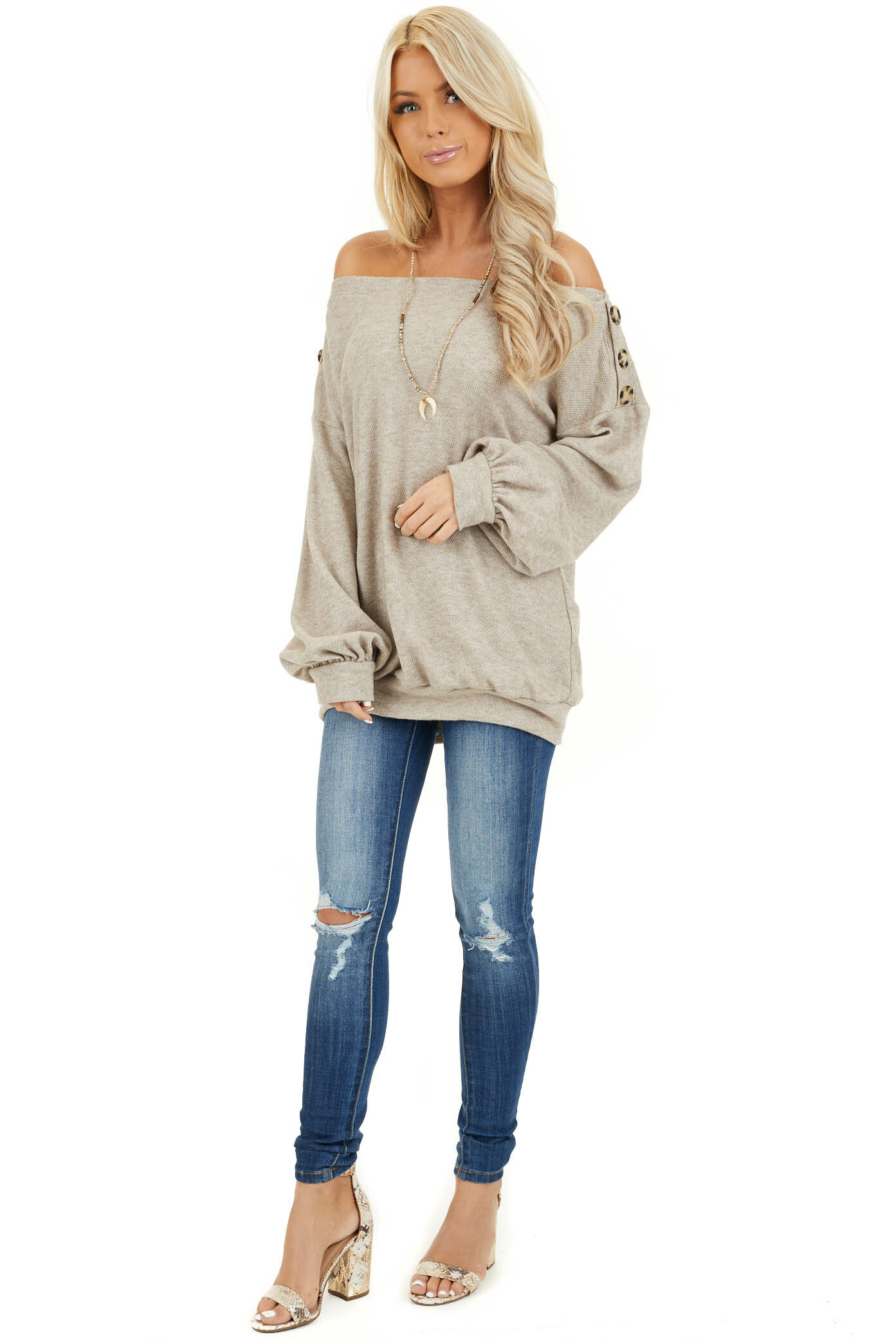 Taupe Off the Shoulder Long Sleeve Top with Button Details front full body