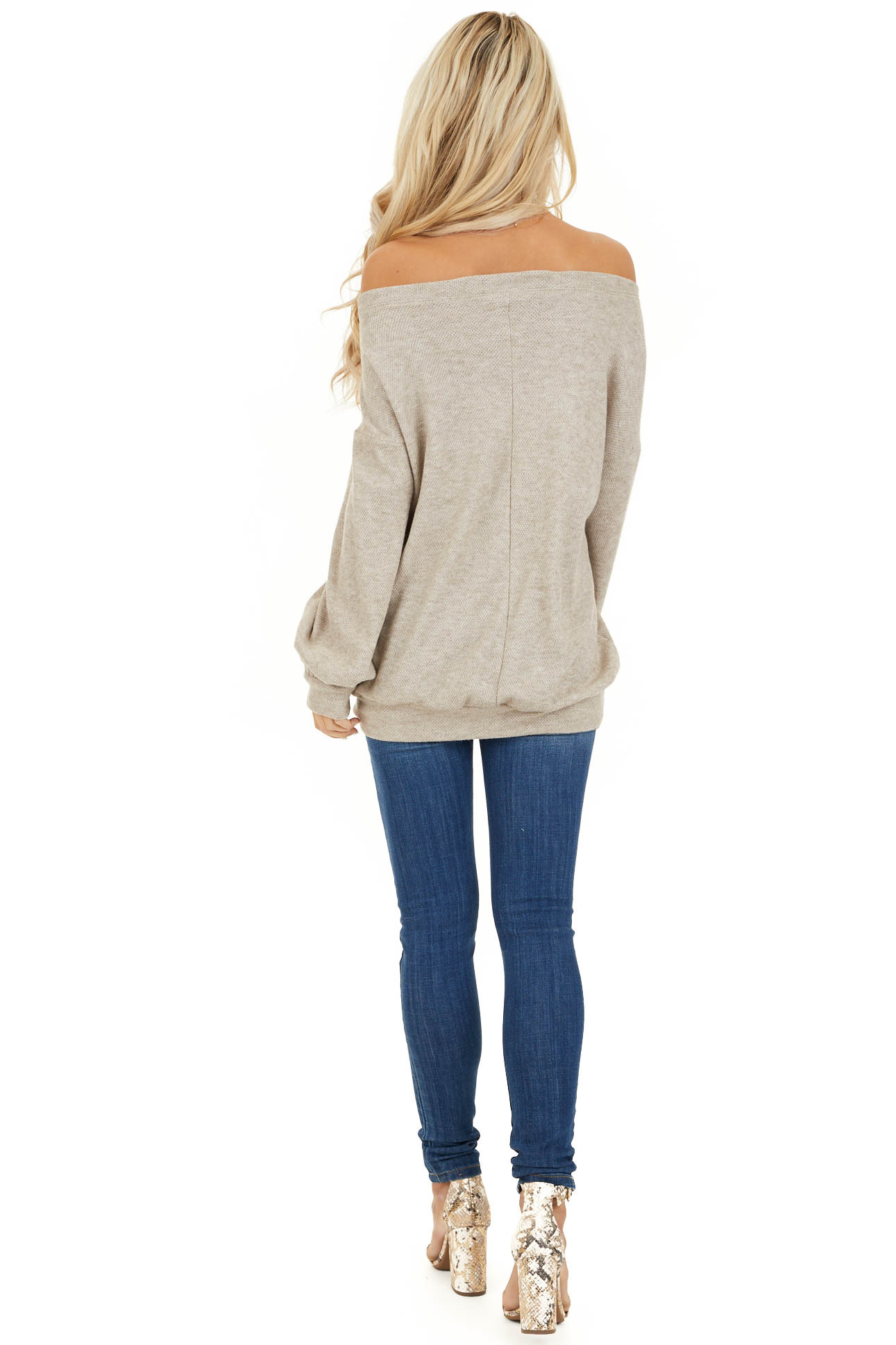 Taupe Off the Shoulder Long Sleeve Top with Button Details back full body