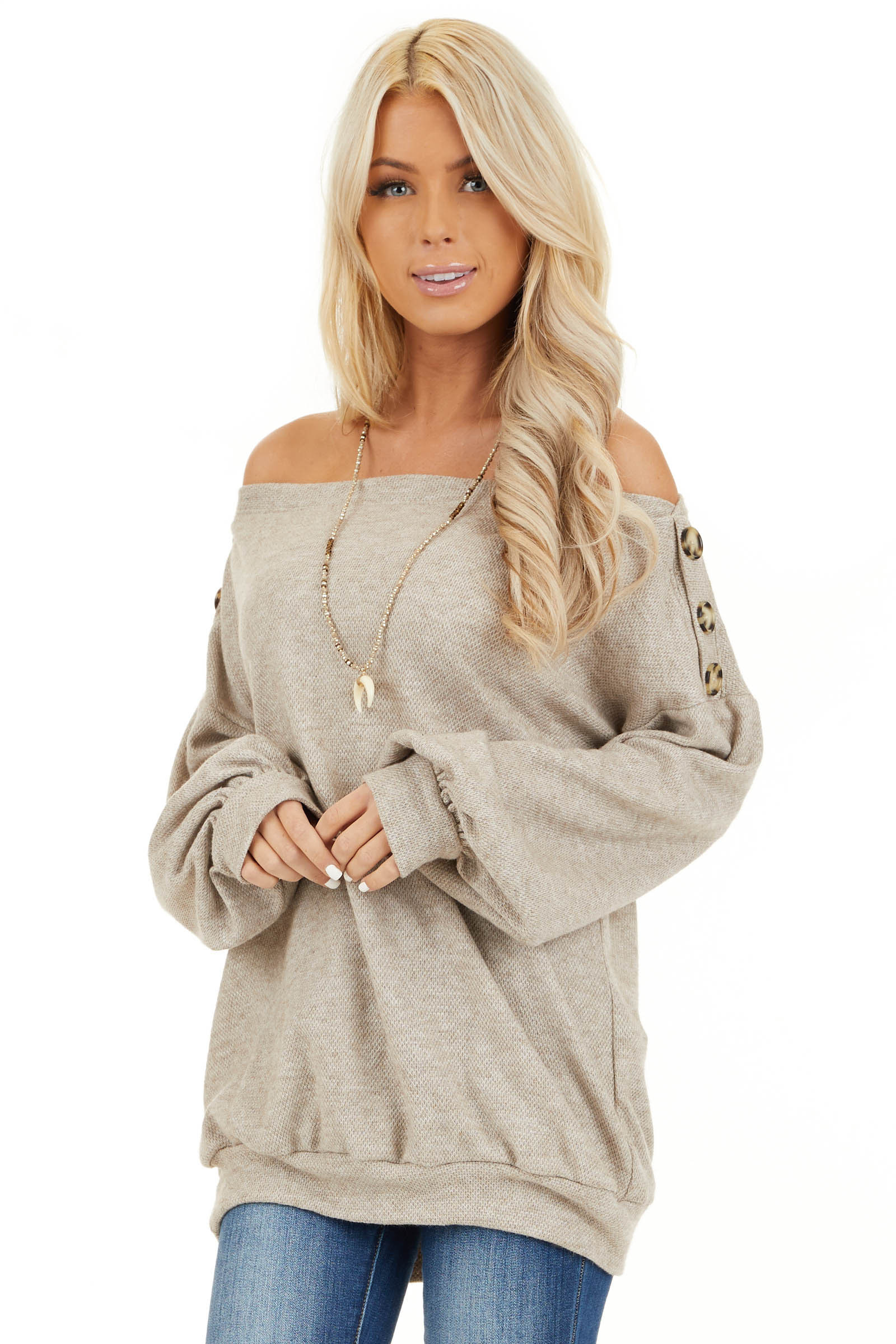 Taupe Off the Shoulder Long Sleeve Top with Button Details front close up