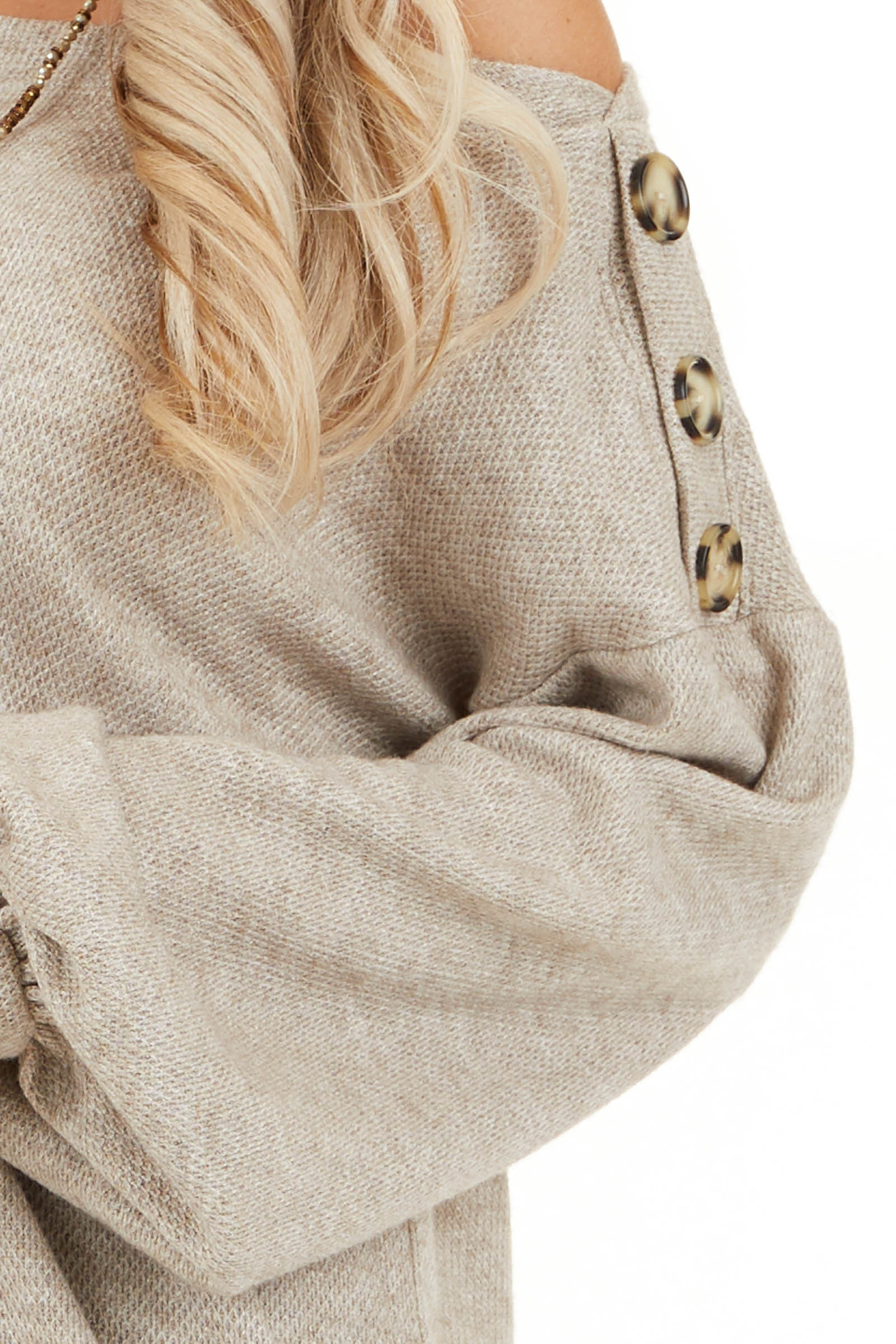 Taupe Off the Shoulder Long Sleeve Top with Button Details detail