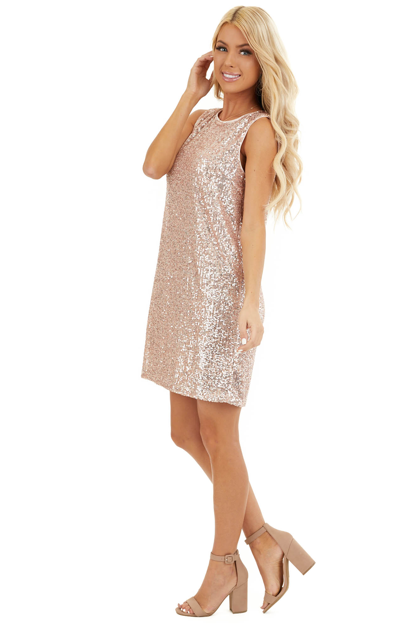 Blush Sequin Sleeveless Mini Dress with Back Keyhole Closure side full body
