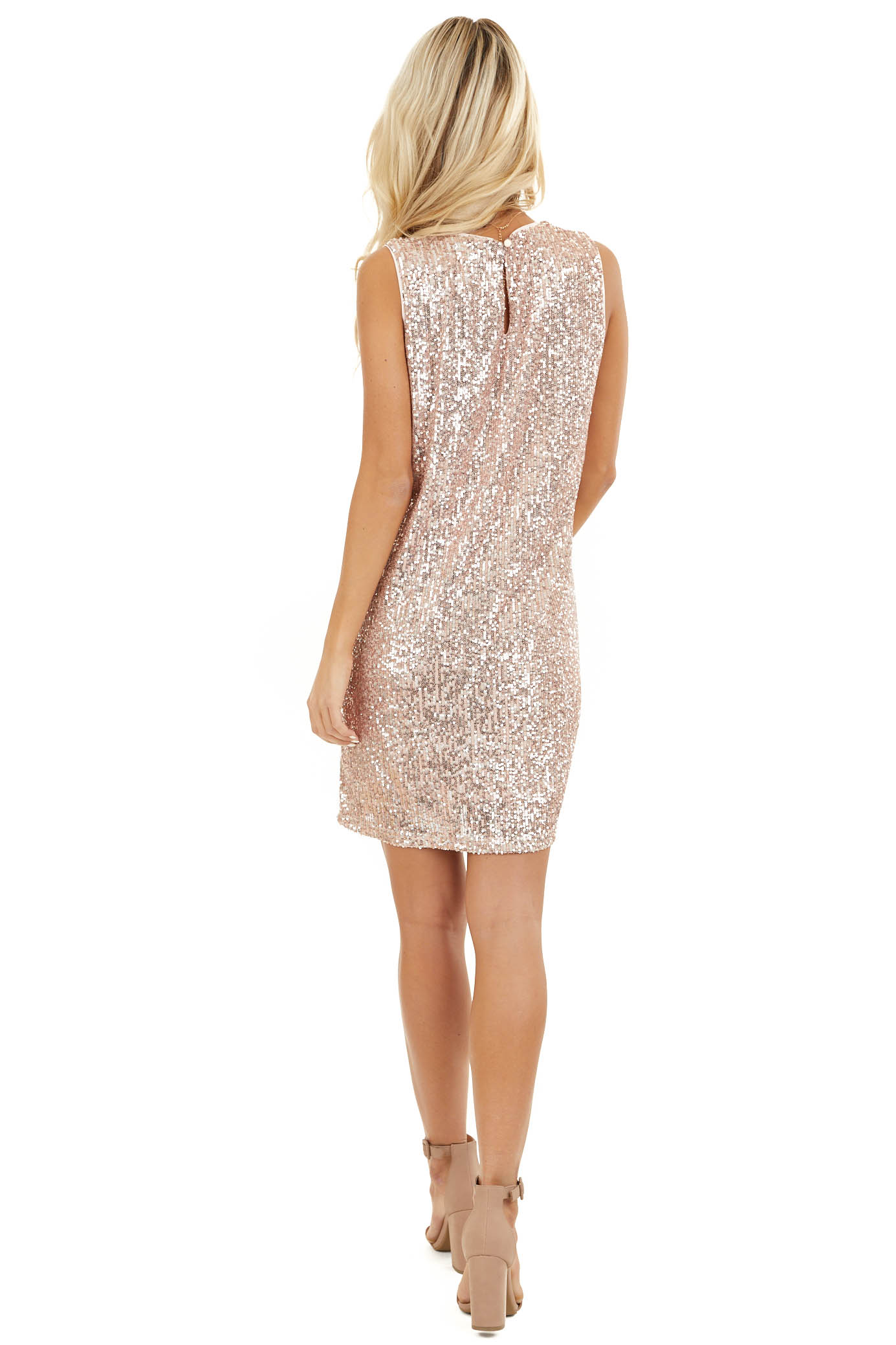 Blush Sequin Sleeveless Mini Dress with Back Keyhole Closure back full body
