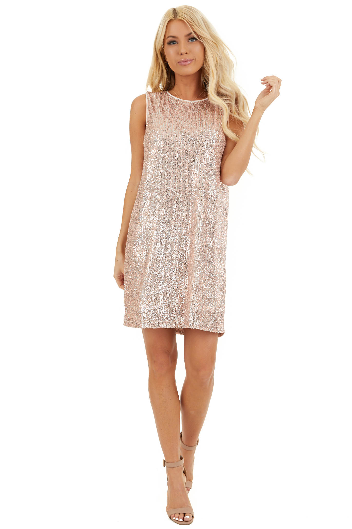 Blush Sequin Sleeveless Mini Dress with Back Keyhole Closure front full body