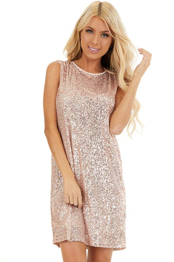 Blush Sequin Sleeveless Mini Dress with Back Keyhole Closure front close up