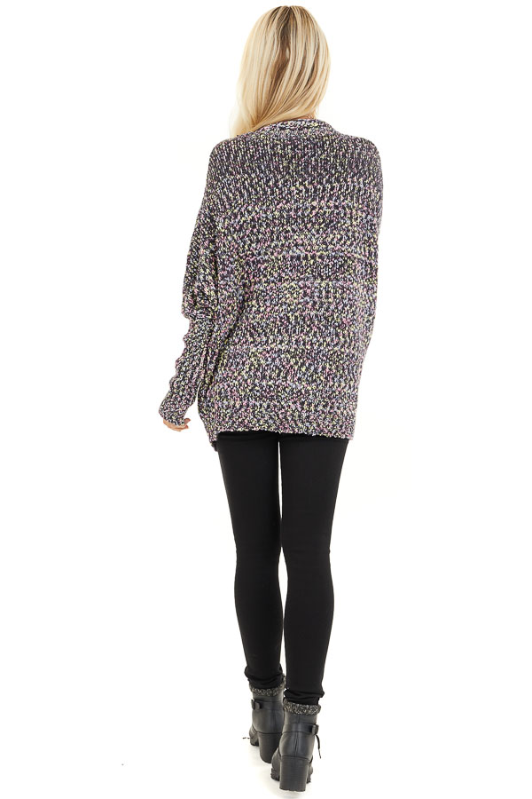 Multi Color Open Front Knit Cardigan with Long Sleeves back full body