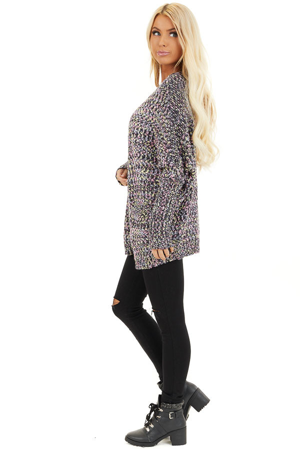 Multi Color Open Front Knit Cardigan with Long Sleeves side full body