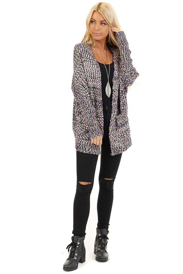 Multi Color Open Front Knit Cardigan with Long Sleeves front full body