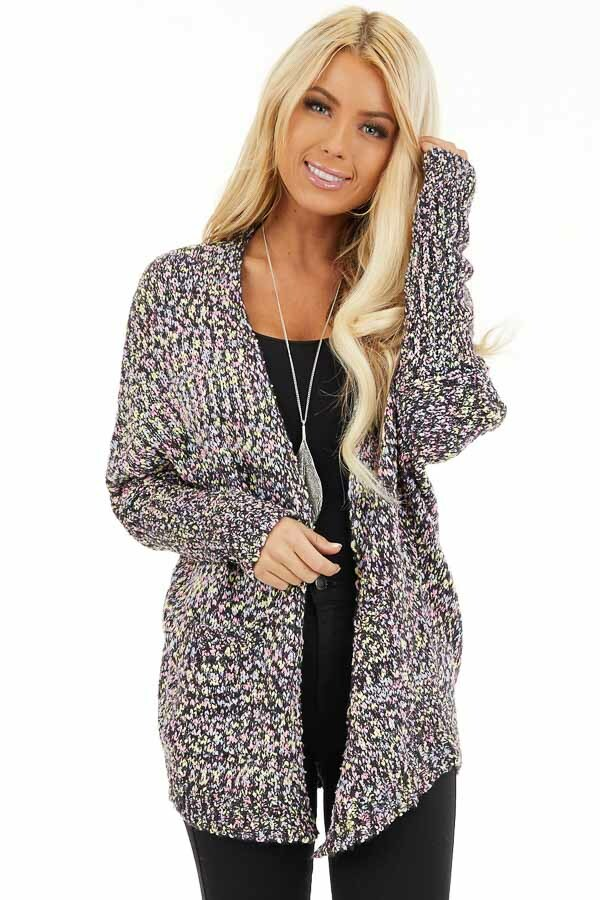 Multi Color Open Front Knit Cardigan with Long Sleeves