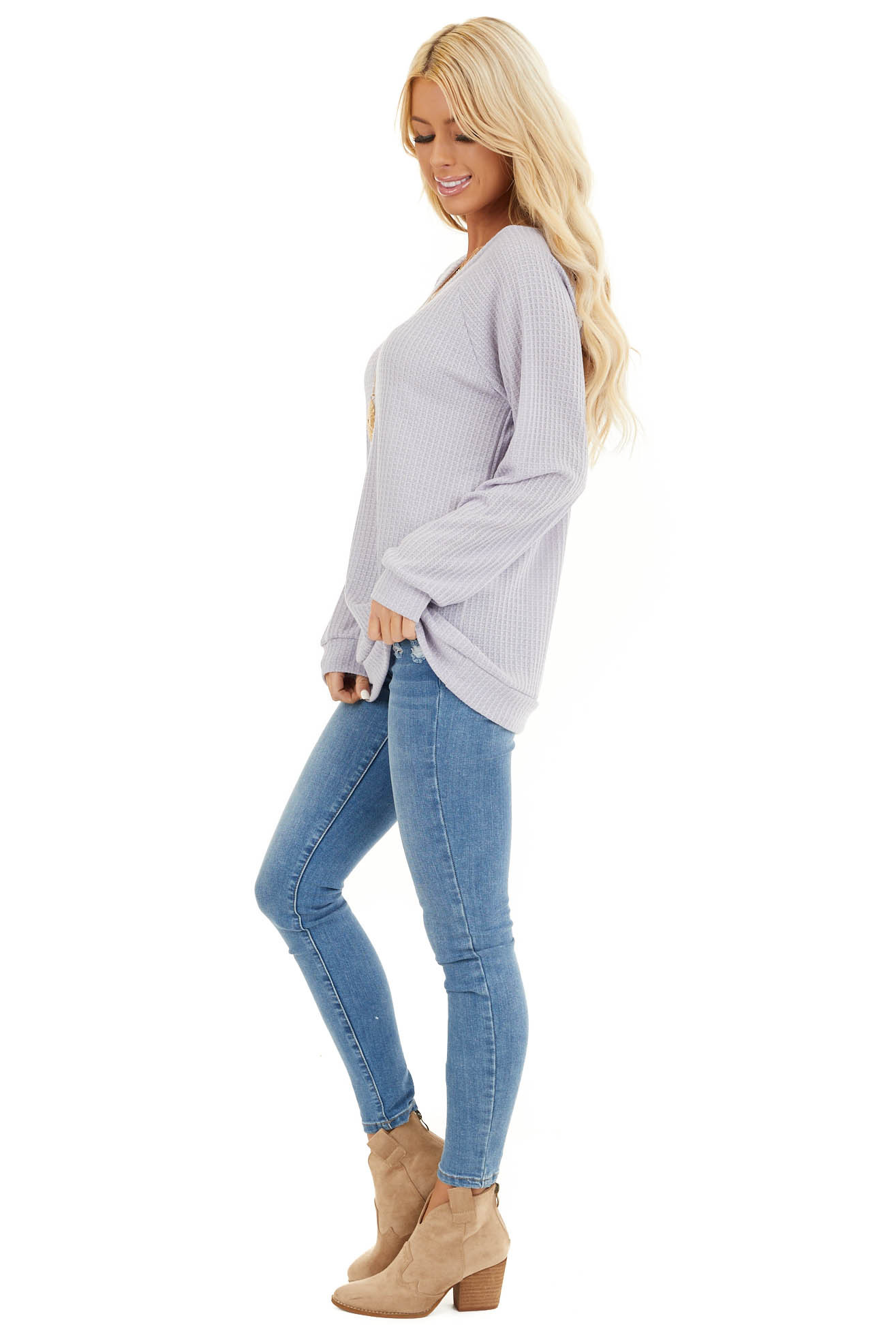 Lavender Long Sleeve Waffle Knit Top side full body