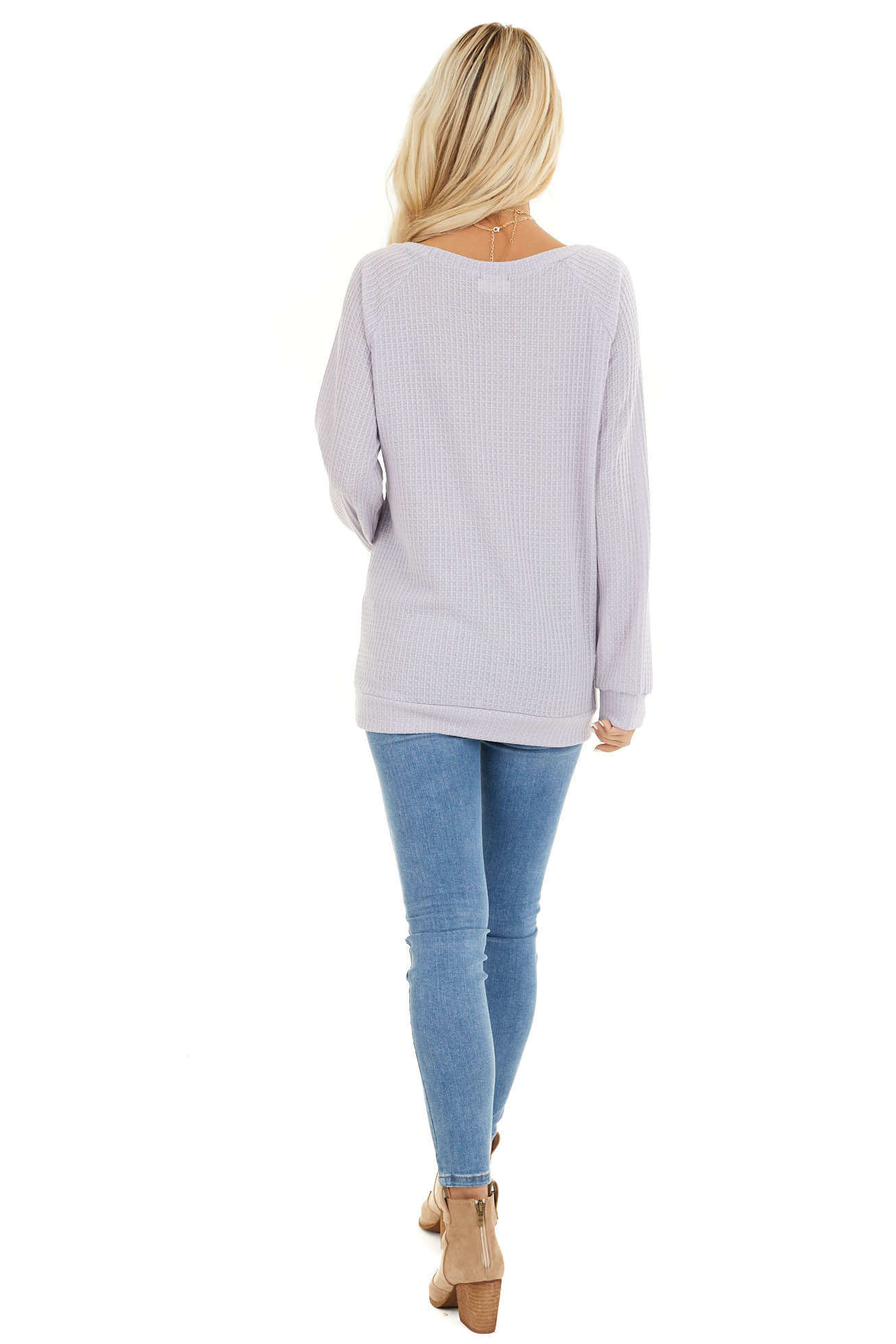 Lavender Long Sleeve Waffle Knit Top back full body