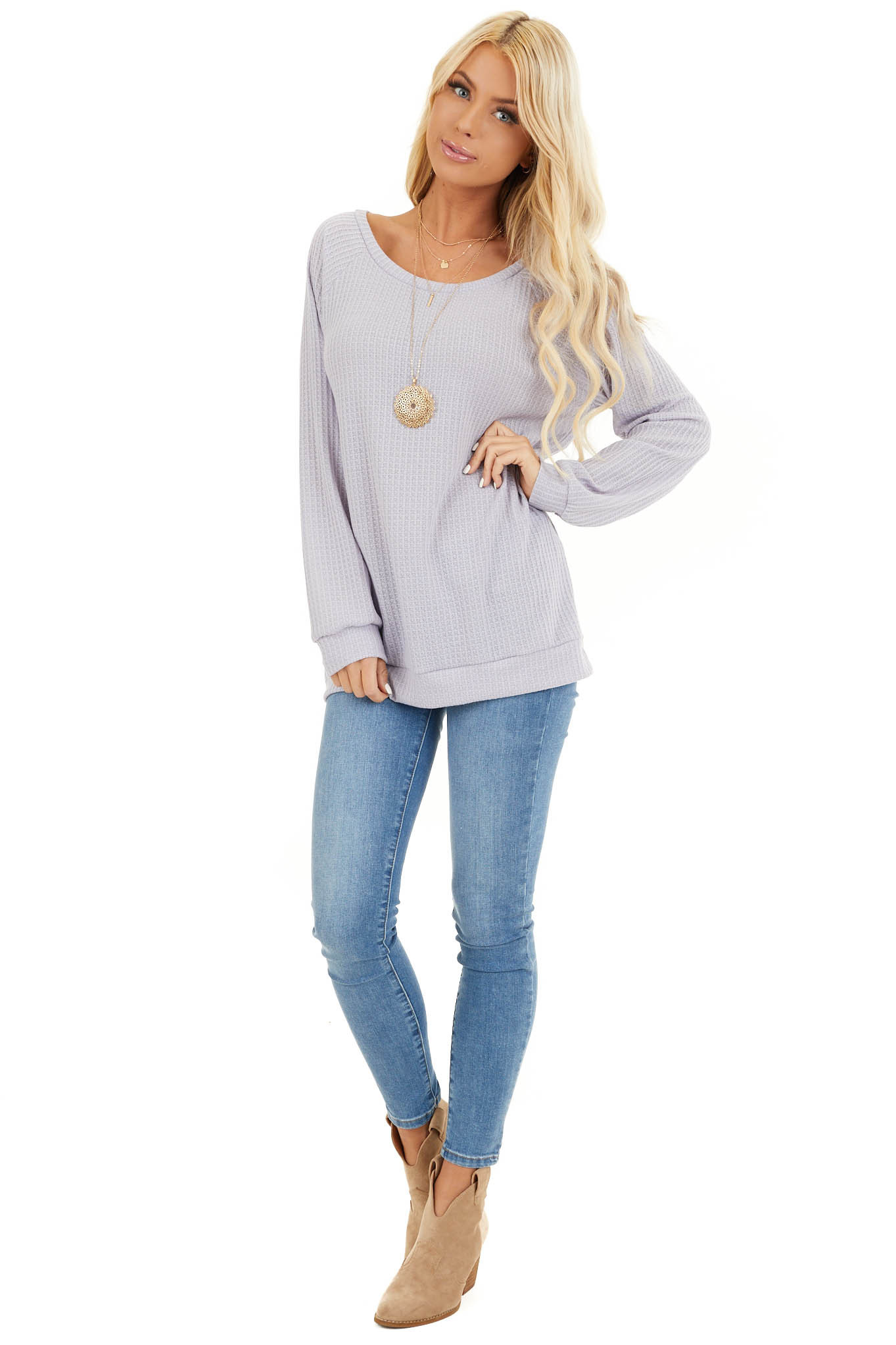 Lavender Long Sleeve Waffle Knit Top front full body