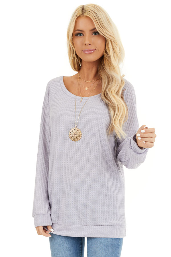 Lavender Long Sleeve Waffle Knit Top front close up