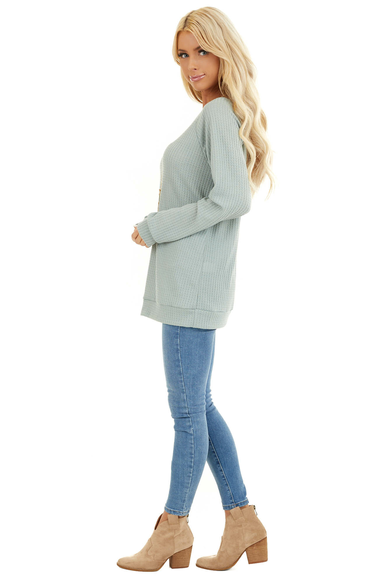 Sage Green Long Sleeve Waffle Knit Top side full body