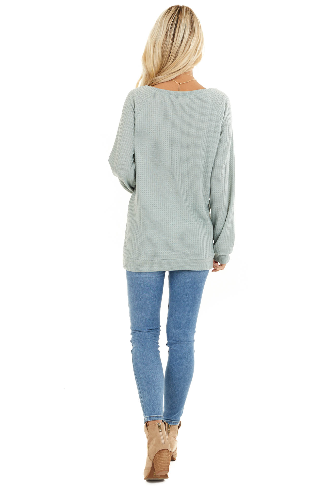 Sage Green Long Sleeve Waffle Knit Top back full body