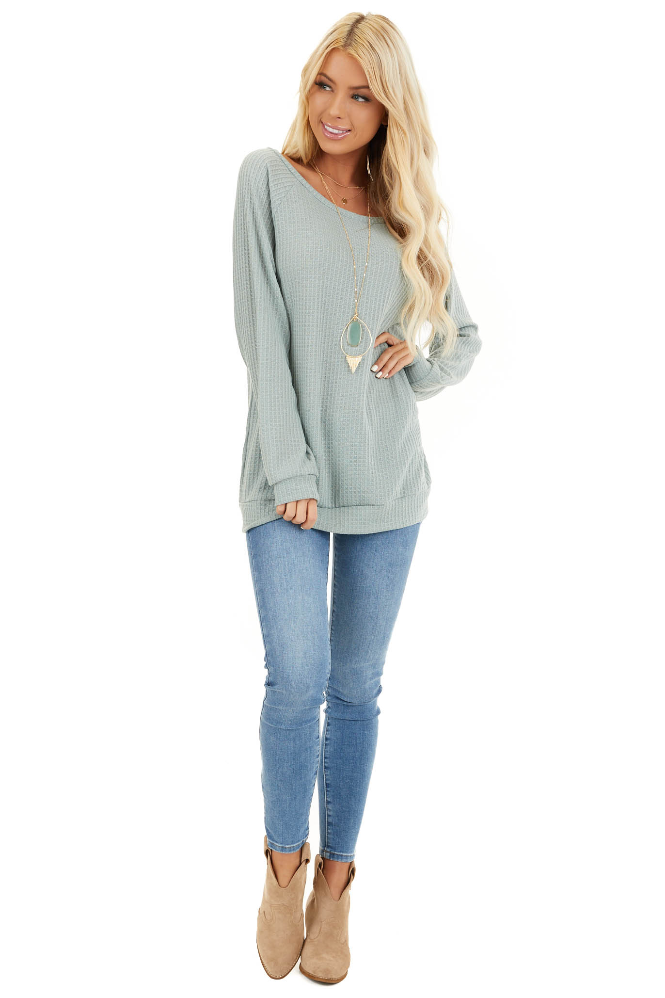 Sage Green Long Sleeve Waffle Knit Top front full body