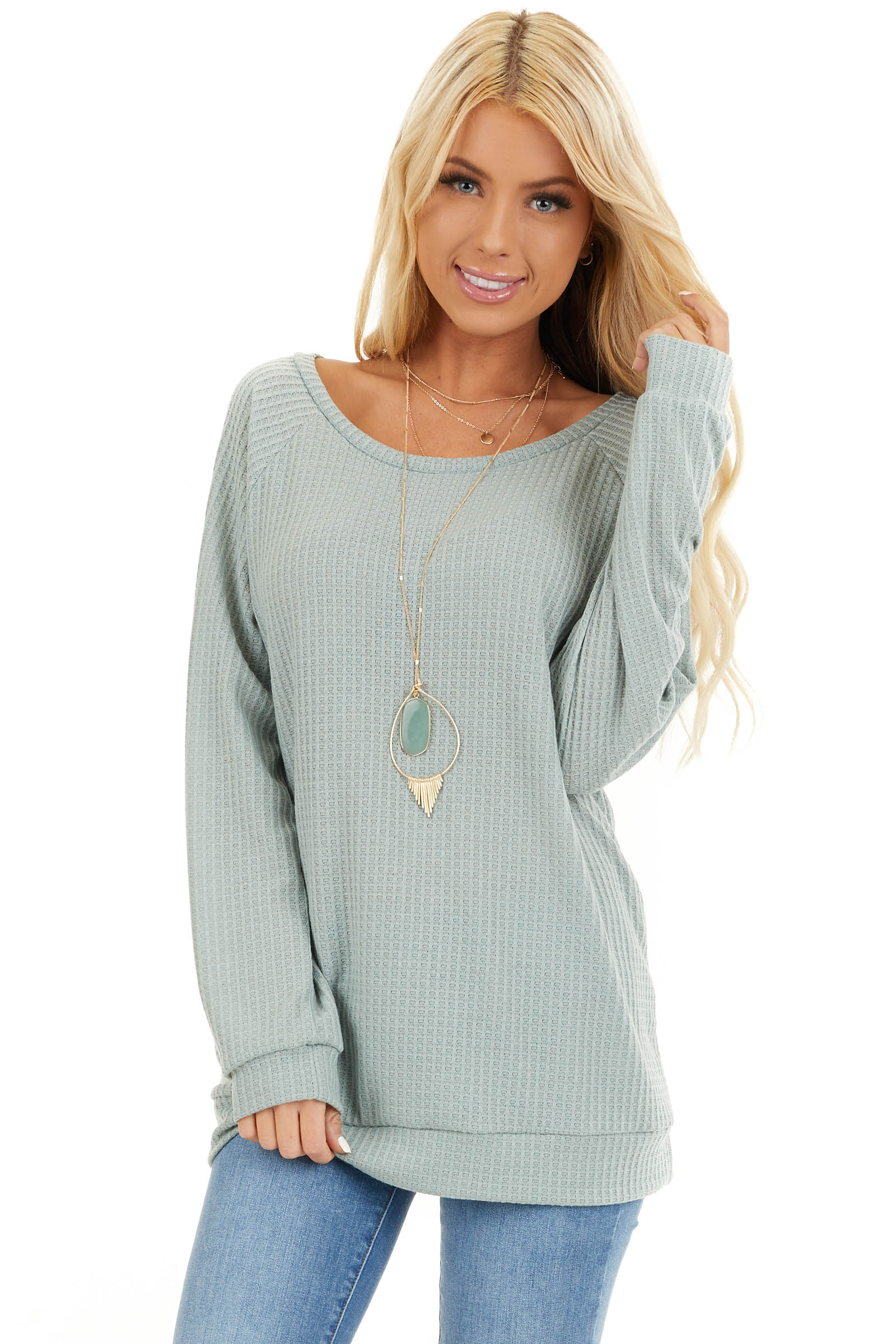 Sage Green Long Sleeve Waffle Knit Top front close up